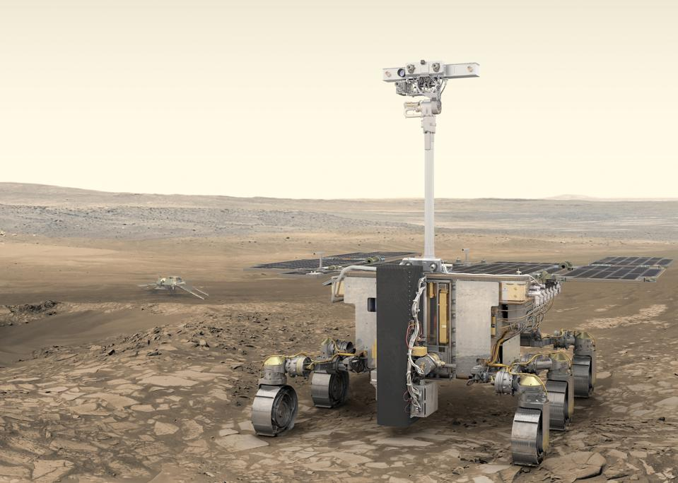 ESA's ExoMars rover (foreground) and Russia's stationary surface science platform (background) are scheduled for launch in July 2020, arriving at Mars in March 2021.