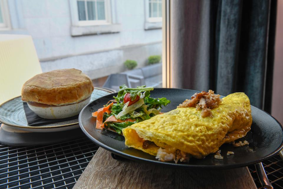 Pork Fried Rice Omelet at Dirty Habit in Washington D.C..