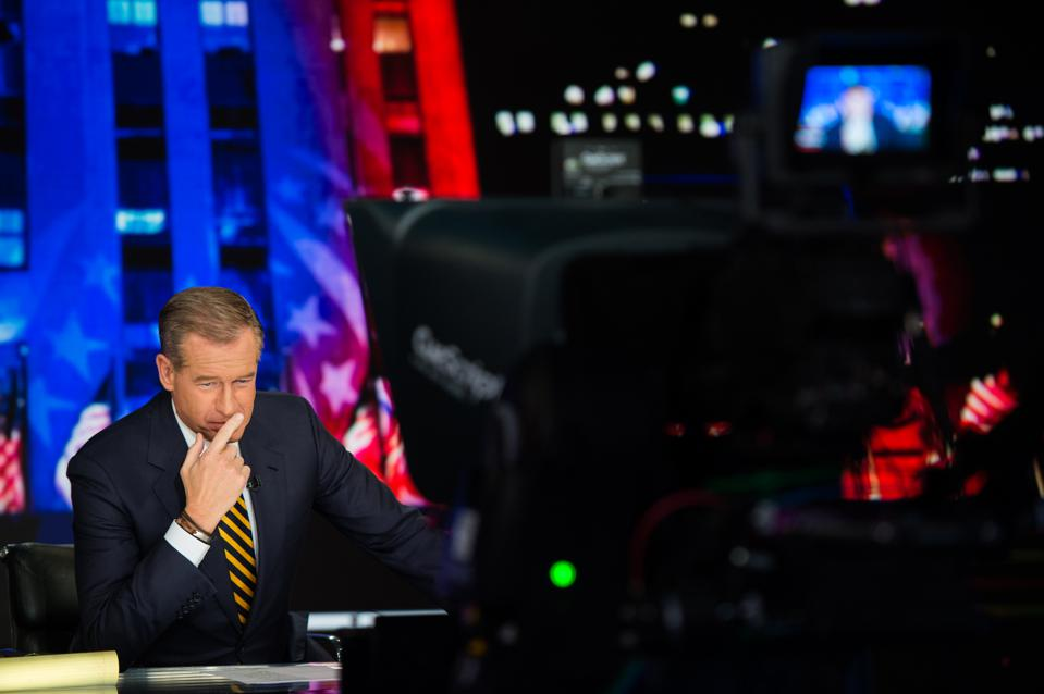 Brian Williams on the set of MSNBC's ″The 11th Hour″
