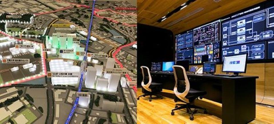 Left: a model of Japan's Kashiwa-no-ha smart city. Right: the city's Smart Center