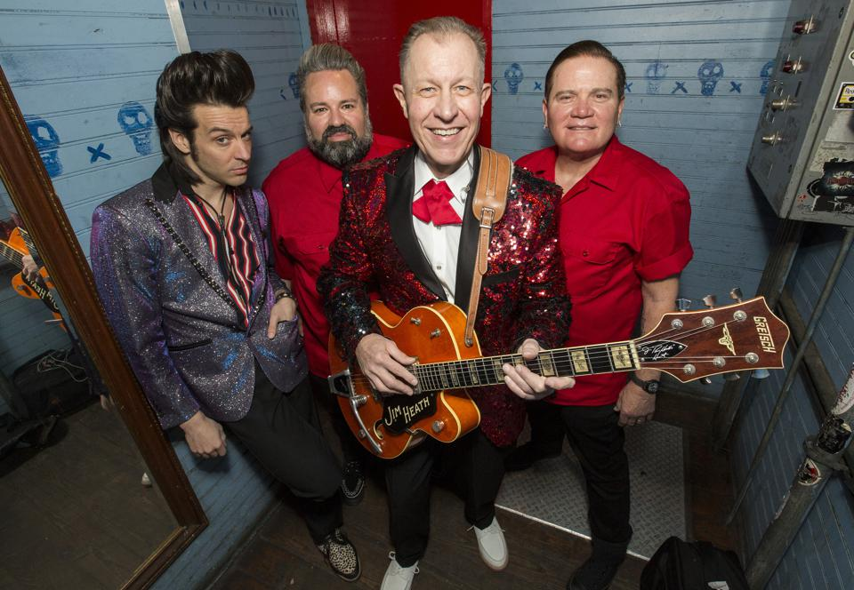 (Left to right) Lance Lipinsky, Arjuna ″RJ″ Contreras, Jim Heath and Jimbo Wallace of the Reverend Horton Heat pose backstage on opening night of the ″Horton's Holiday Hayride″ tour. Friday, November 29, 2019 at House of Blues in Chicago (Photo by Barry Brecheisen)