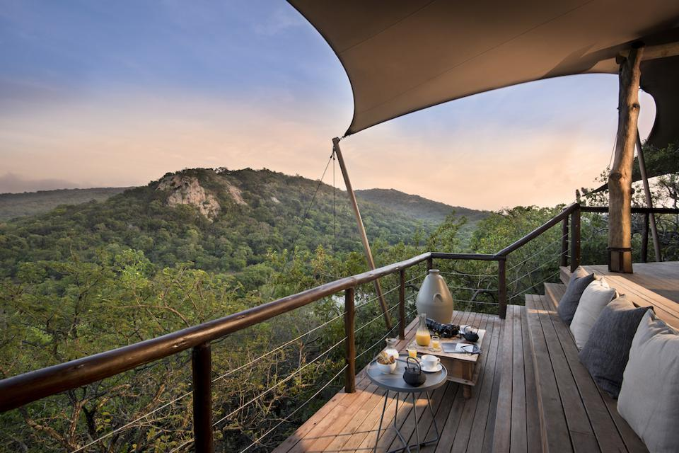Guest lodge deck at andBeyond Phinda