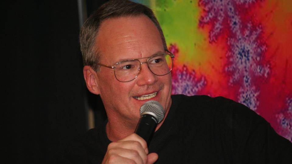 Jim Cornette hosting a live podcast recording at the Mid-Atlantic Fanfest in 2013