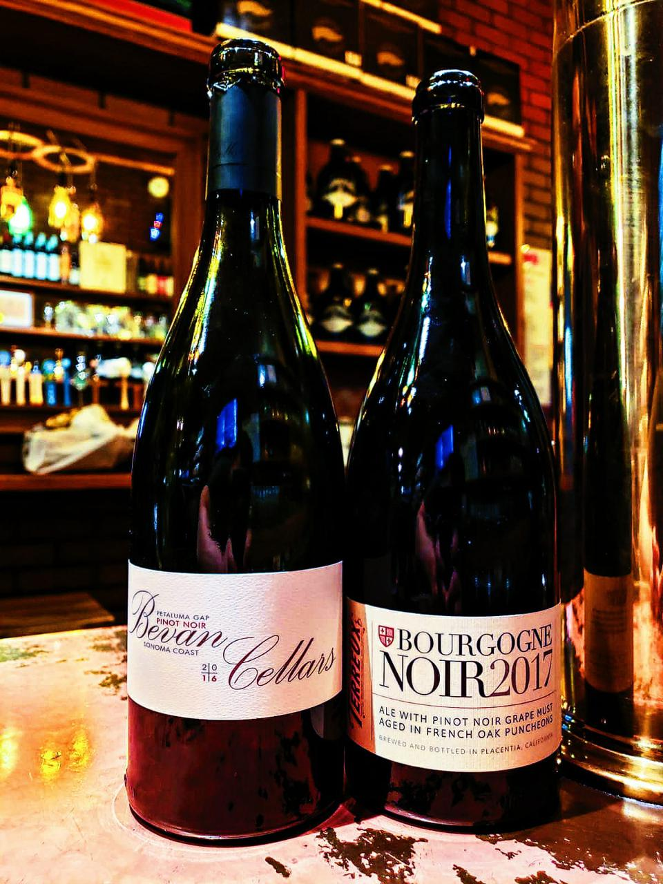 Bevan Cellars Petaluma Gap Pinot Noir (2016) and Bourgogne Noir by The Bruery.