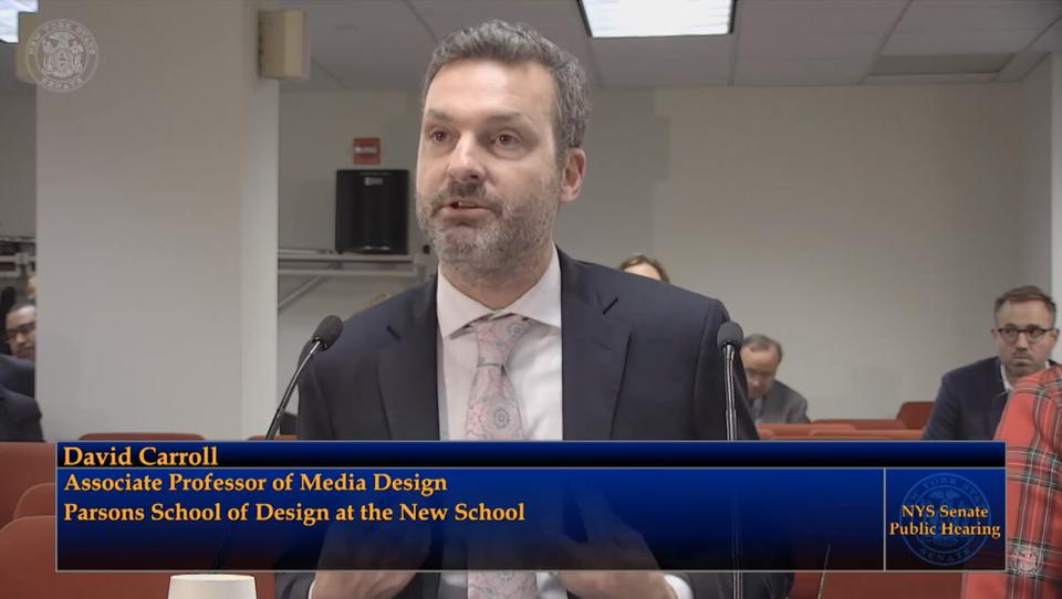 Professor David Carroll of the Parsons School of Design at the New School David Carroll testifying at the New York Privacy Act hearings