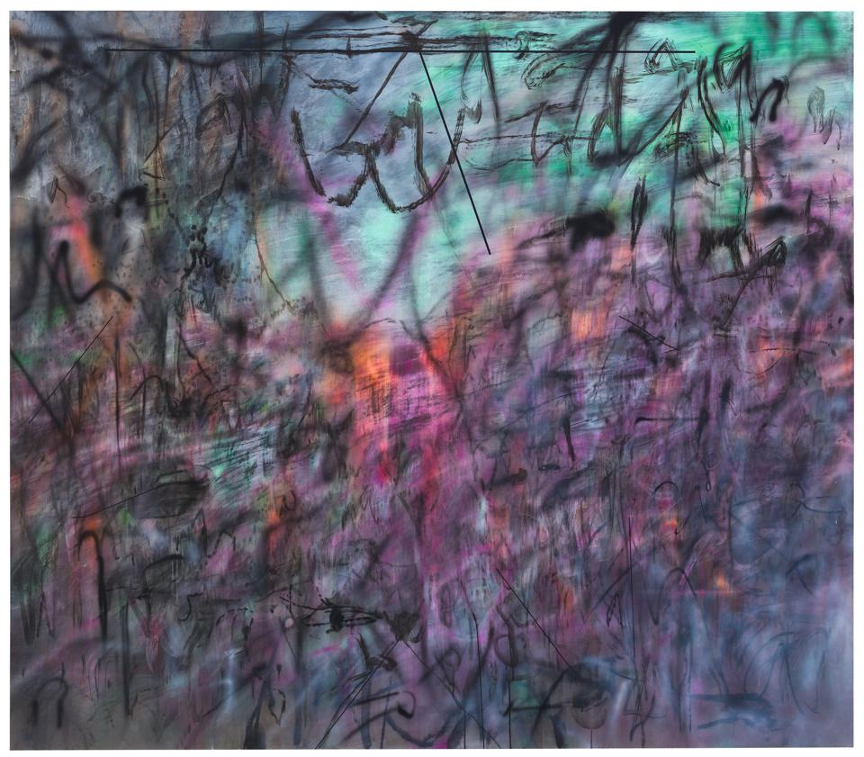 Julie Mehretu, Conjured Parts (eye), Ferguson, 2016, ink and acrylic on canvas, 84 × 96 in., The Broad Art Foundation, Los Angeles.