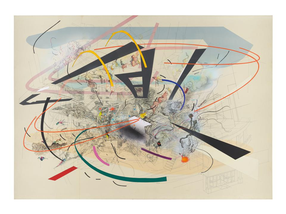 Julie Mehretu, Untitled 2, 2001, ink and acrylic on canvas, 60 × 84 in., private collection, courtesy of Salon 94, New York.