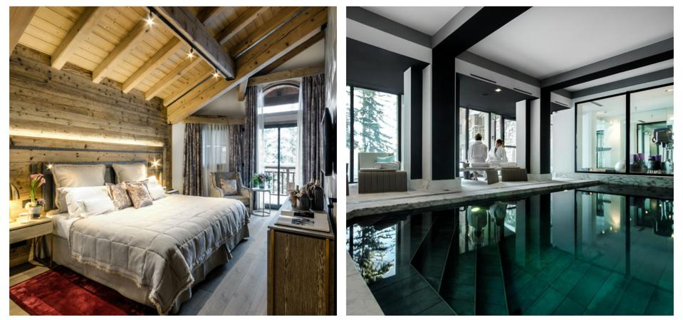 A chalet room at La Sivoliere Hotel and the spa, Courchevel, French Alps.