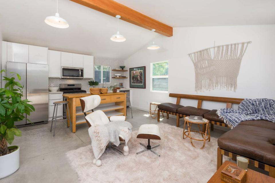 Interior of an accessory dwelling unit in a converted garage