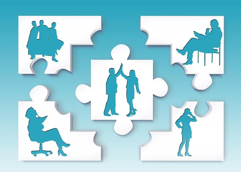 Puzzle pieces w people - Image by Gerd Altmann, Pixabay