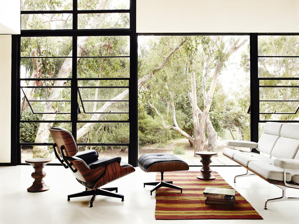 The molded plywood and leather Eames Lounge and Ottoman