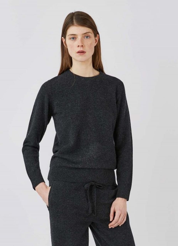 Lambswool Sweatshirt In Charcoal Melange by Sunspel
