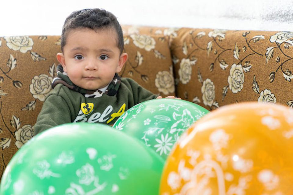 Baby Mohammad, born to Syrian parents living at the UNICEF-supported Azraq Refugee Camp in Jordan, received the MMR vaccine in February 2019, on his first birthday.