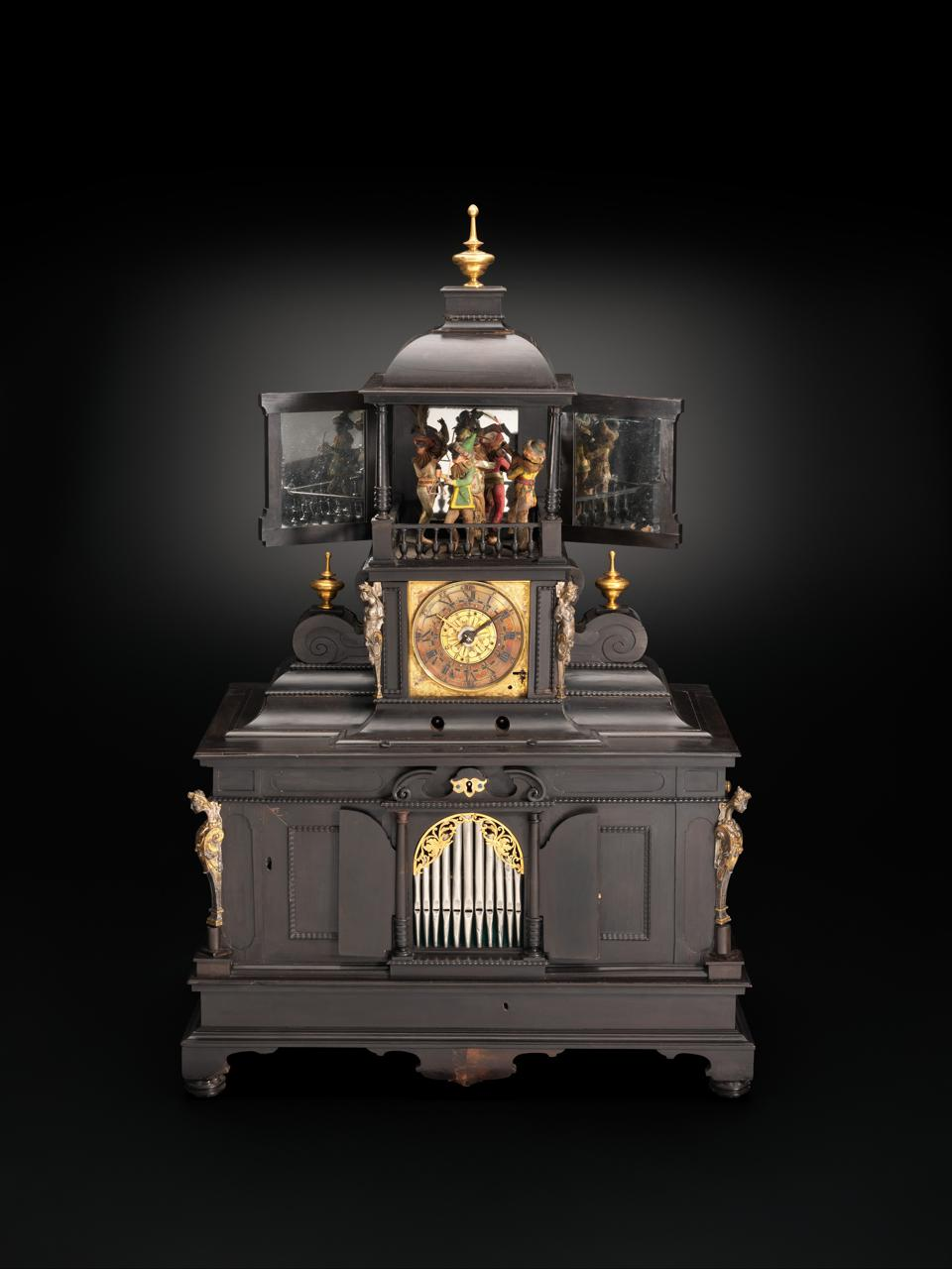 Veit Langenbucher (1587–1631). Samuel Bidermann (German, 1540–1622). Musical Clock with Spinet and Organ, ca. 1625. Ebony, gliding, brass, silver gilt, gilt brass, iron, various wood and metals, wire, parchment and leather. 30 3/4 × 19 11/16 × 12 5/8 in. (78.1 × 50 × 32 cm). Inner Mechanism: 10 3/4 × 19 × 10 in. (27.3 × 48.3 × 25.4 cm). Purchase, Clara Mertens Bequest, in memory of André Mertens, 2002, The Metropolitan Museum of Art, New York (2002.323a–f)