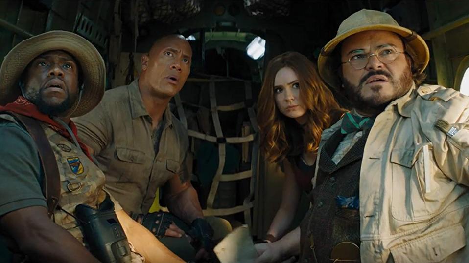 Jack Black, Kevin Hart, Dwayne Johnson and Karen Gillan in 'Jumanji The Next Level'