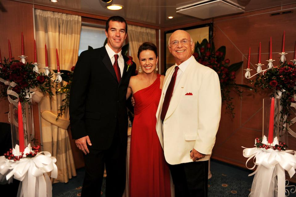 Ryan and Trista Sutter with Gavin MacLeod at the Princess naming ceremony in 2008