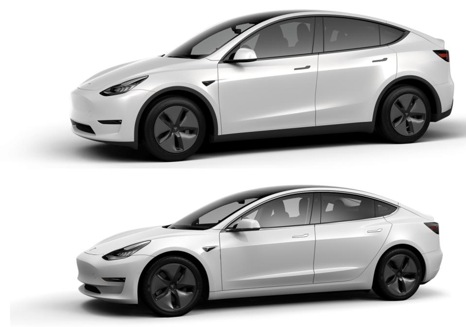 Model Y (top) and Model 3.
