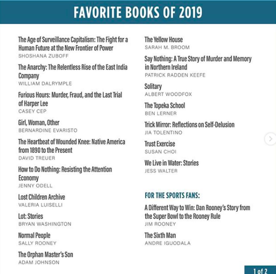 Barack Obama lists his favorite books of 2019.