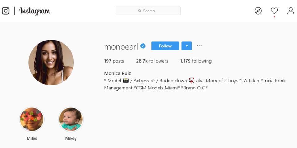 The Instagram profile of Monica Ruiz.