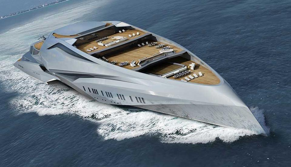 The 751-foot-long superyacht concept Valkyrie underway.