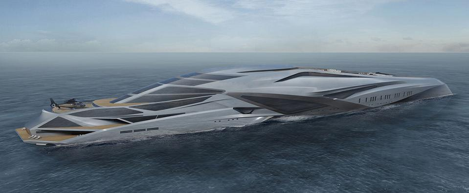 The 751-foot-long superyacht concept Valkyrie features a helicopter pad.
