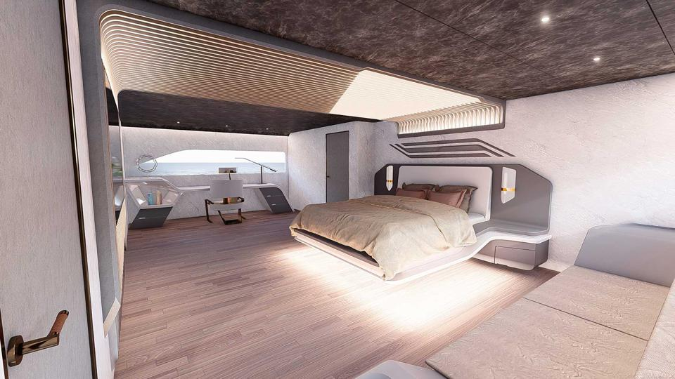 The master suite aboard the 170-foot long Venom from Chulhun Park and Latitude Yachts.