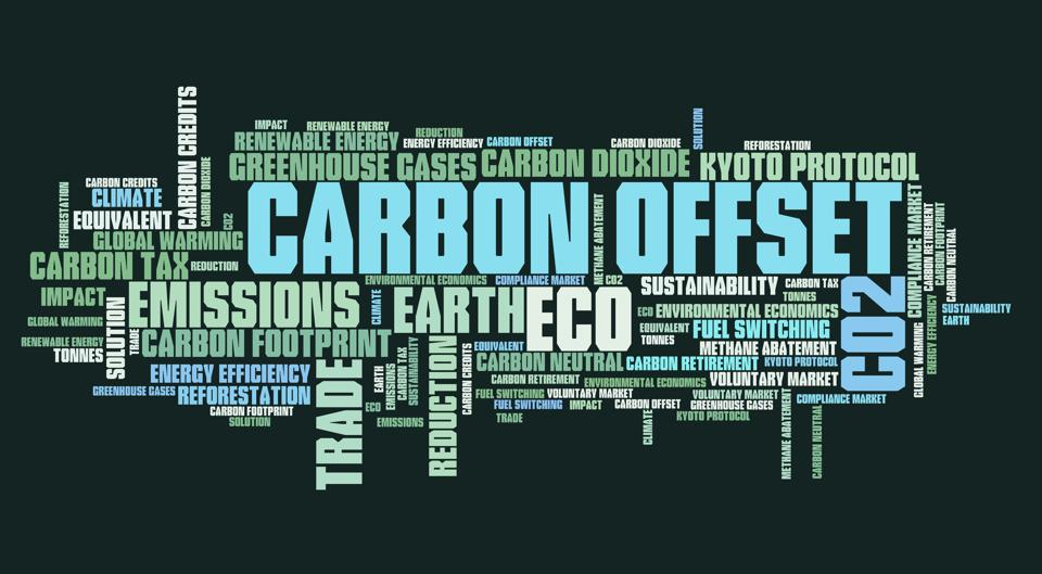 Word cloud with the words Carbon Offset largest and other words like greenhouse gases, carbon dioxide and Kyoto protocol.