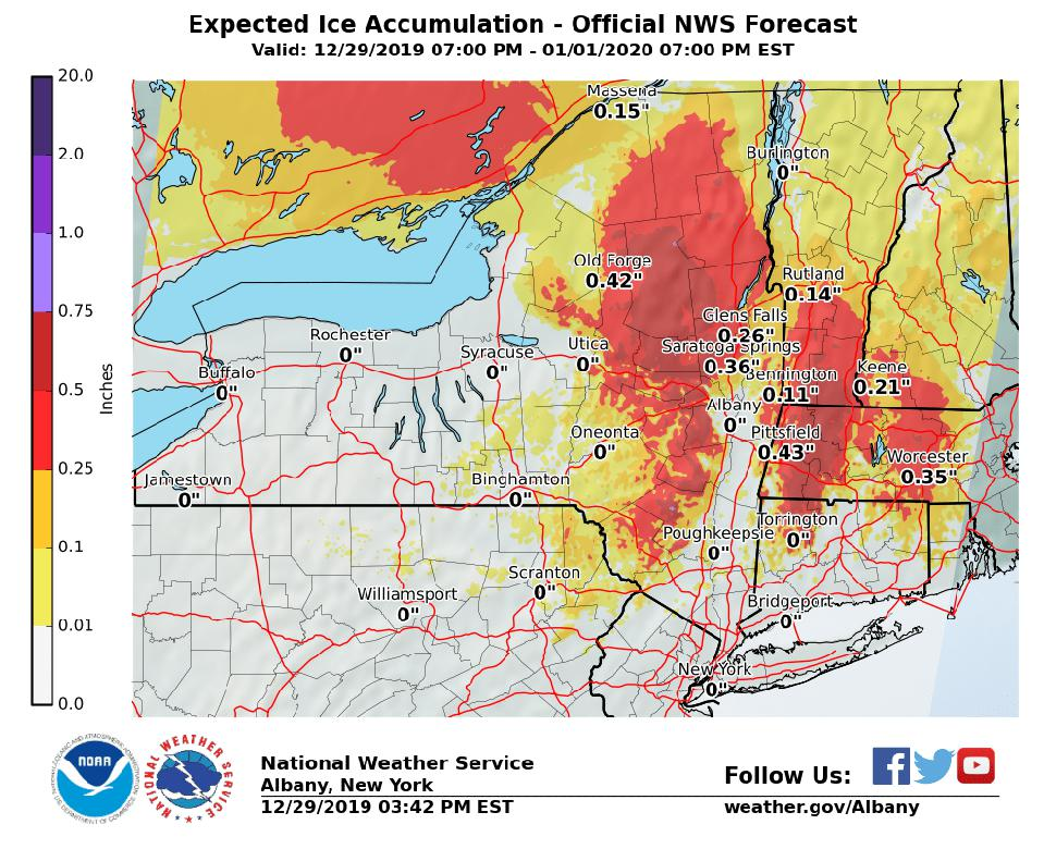 The National Weather Service's ice accretion forecast through Wednesday evening.
