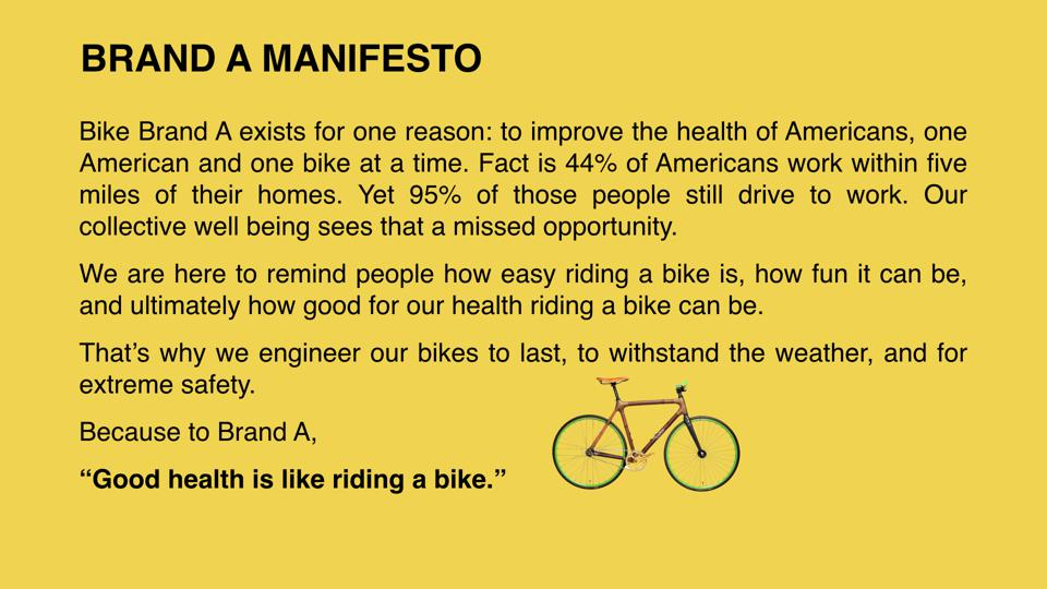 Manifesto for a bike company.