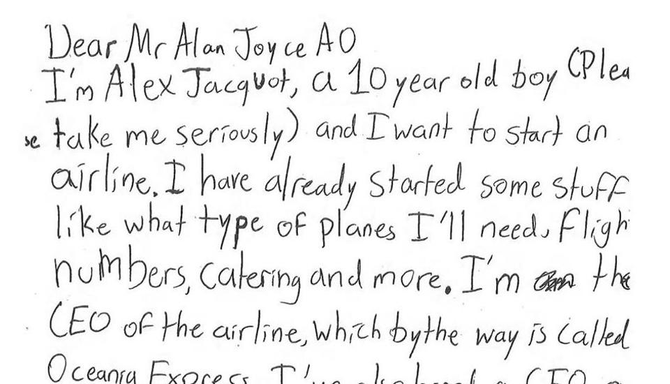 Excerpt from a child's letter to the CEO of Qantas.