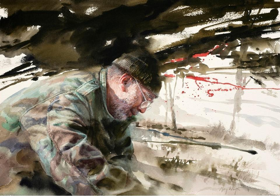 Mary Whyte, Bunker, 2017, watercolor. Dennis, Carmel, California, Army, 1972-1975.