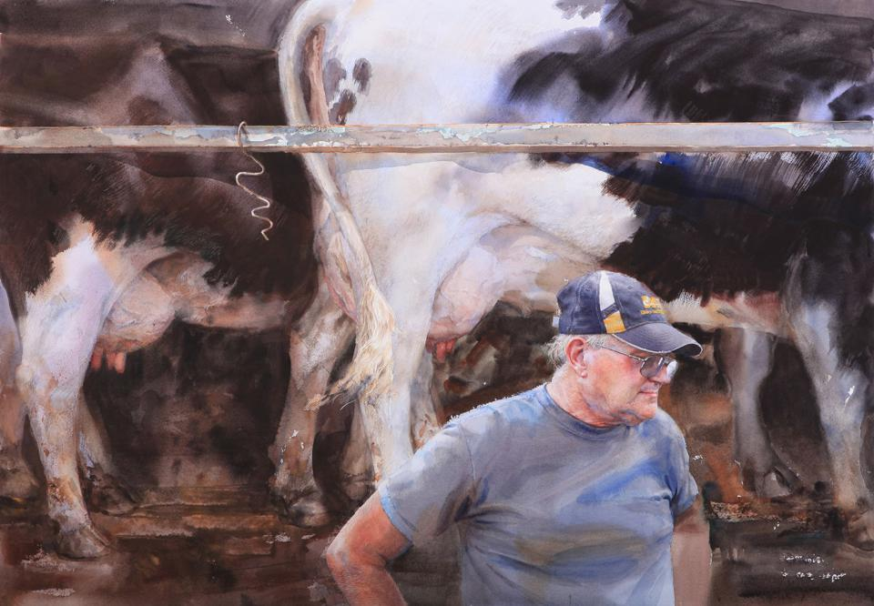 Mary Whyte, Holsteins, watercolor. Darrell, Norwood, Missouri, U.S. Army 1968-1971.