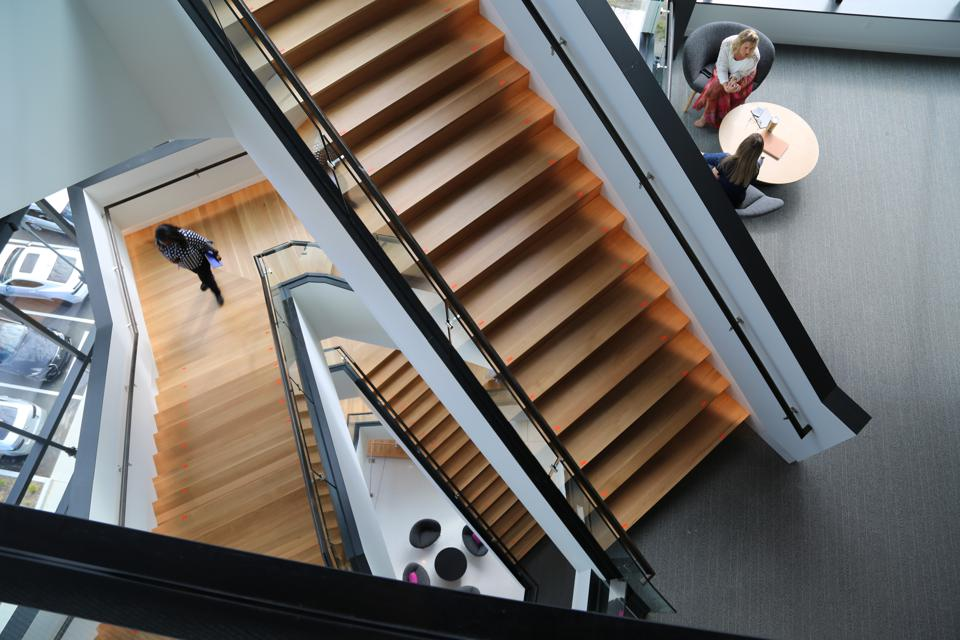 The central staircase in KAR Global's new headquarters.