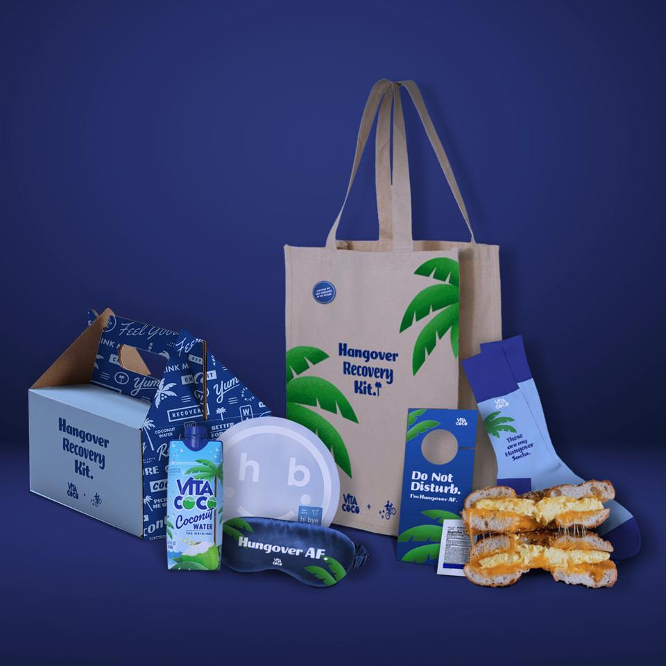 A Vita Coco-branded tote bag, socks, eye mask and other items.
