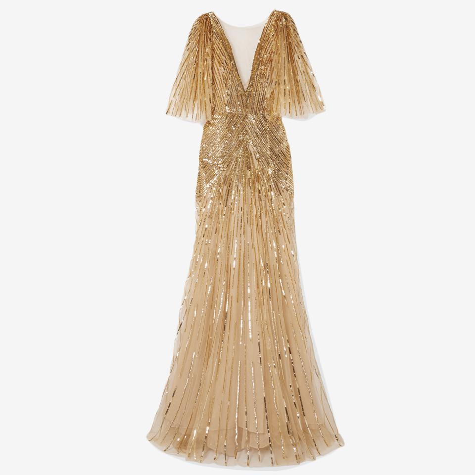 Mesh-Trimmed Sequin-Embellished Tulle Gown by Monique Lhuillier.