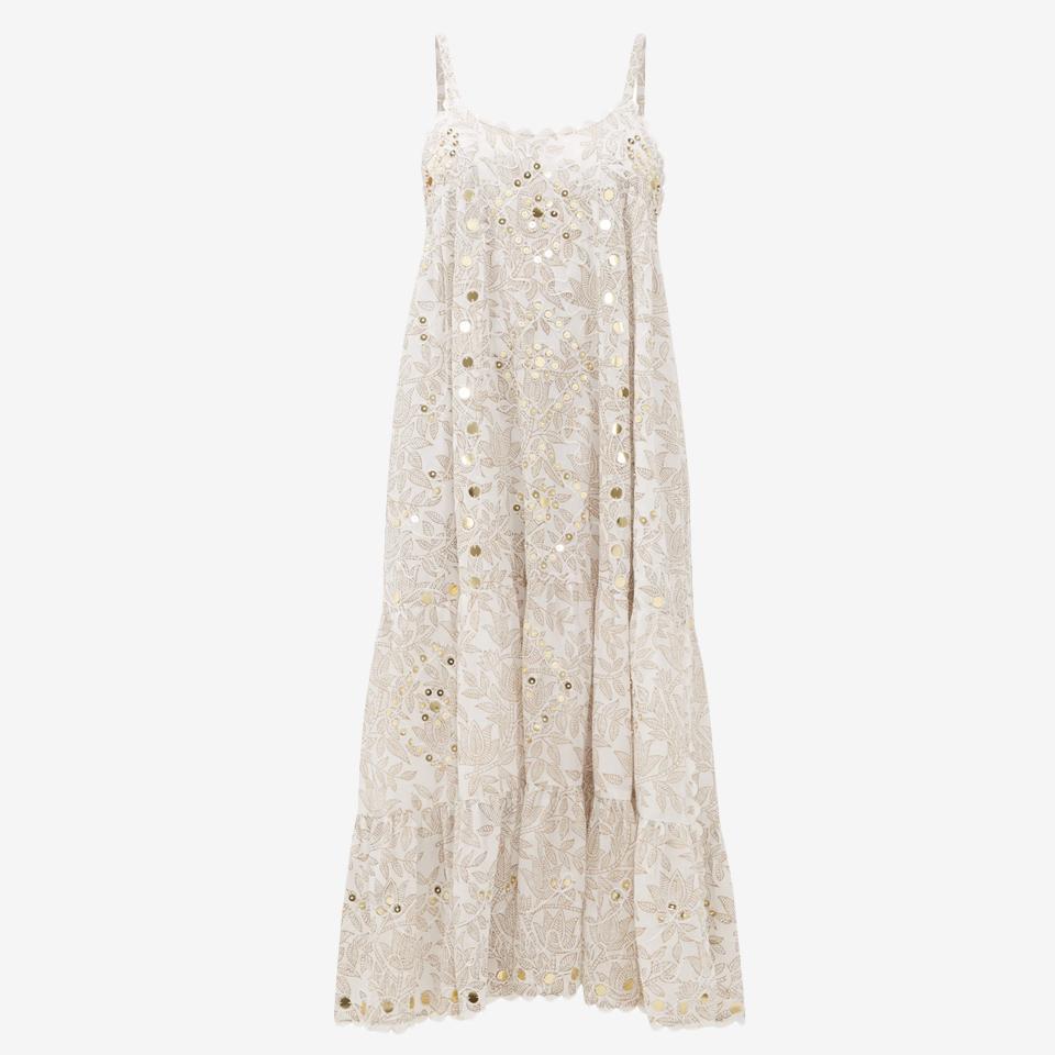 Mirror-Work Floral-Print Cotton Midi Dress by Juliet Dunn.