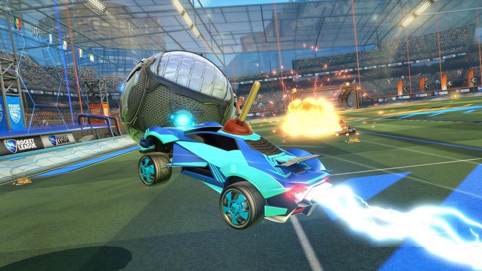 A screenshot of Rocket League.