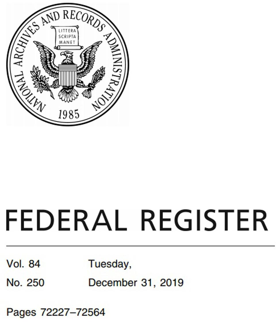 Cover of the Federal Register, Tuesday, December 31, 2019.