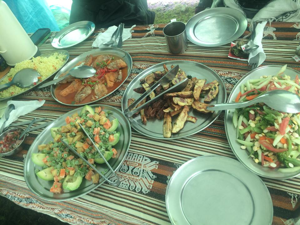 Locally-sourced feast prepared by Alpaca Expedition's chef.
