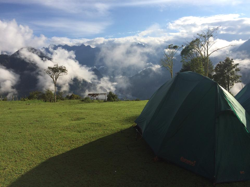 Campsite across the valley from Machu Picchu on the Salkantay Trek.