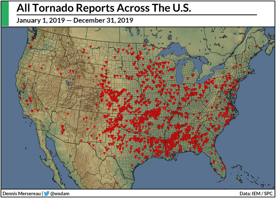 A map of tornado reports across the United States in 2019.