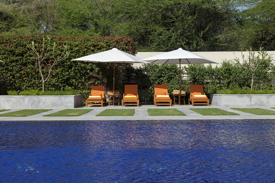 The serene heated pool at The Oberoi, New Delhi