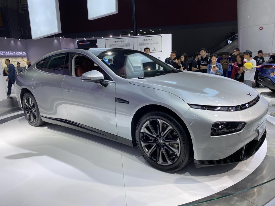 Xpeng P7 sedan in silver at the 2019 Guangzhou Motor Show.