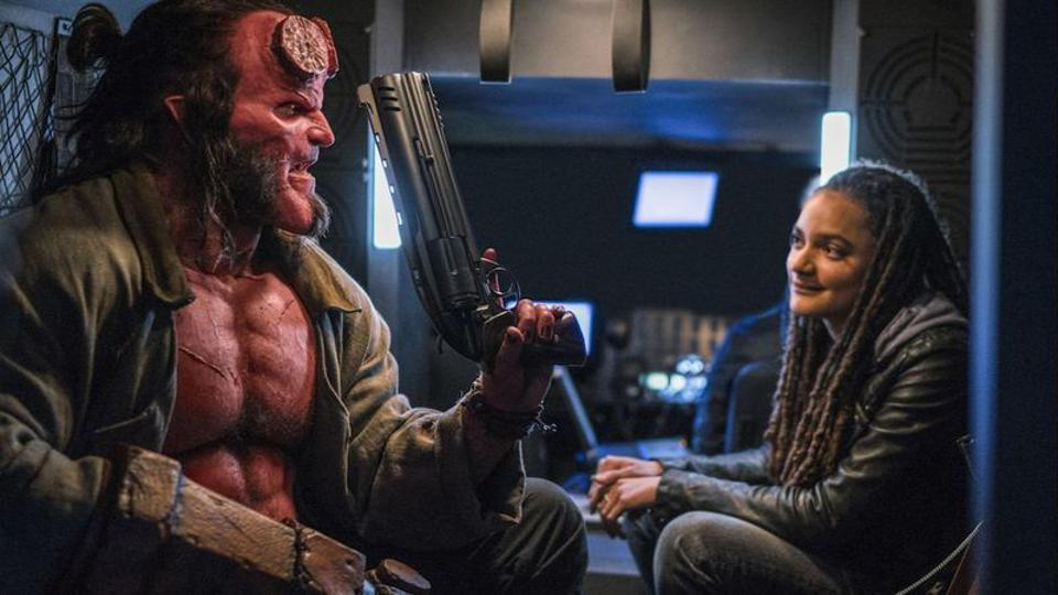 David Harbour and Sasha Lane in 'Hellboy'