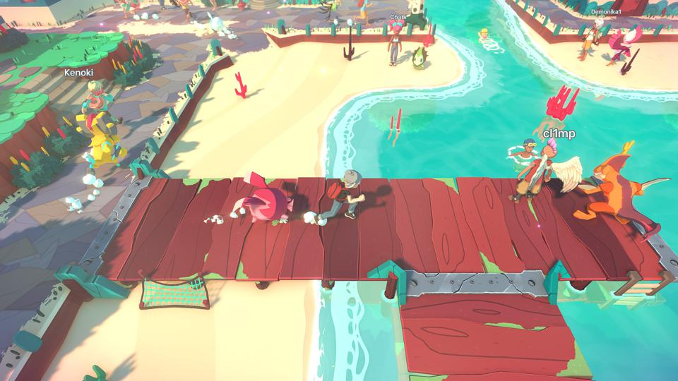 A beach location in creature-collection MMO, Temtem.