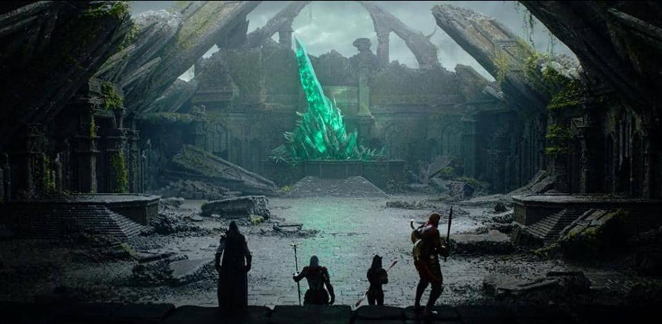 The party of adventurers approach a dungeon in ESO.