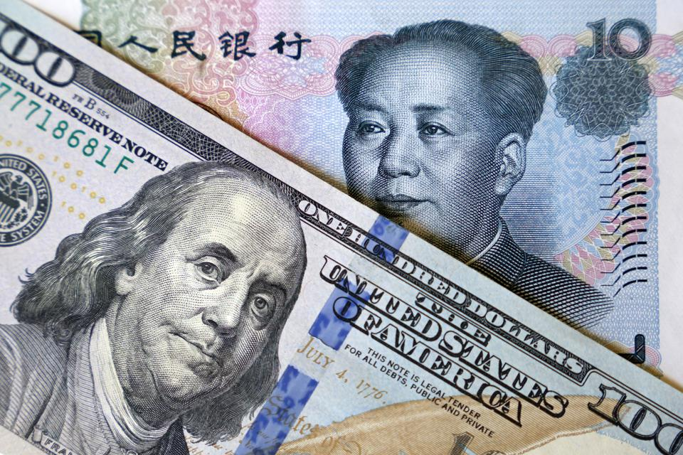 US dollar and chinese yuan notes