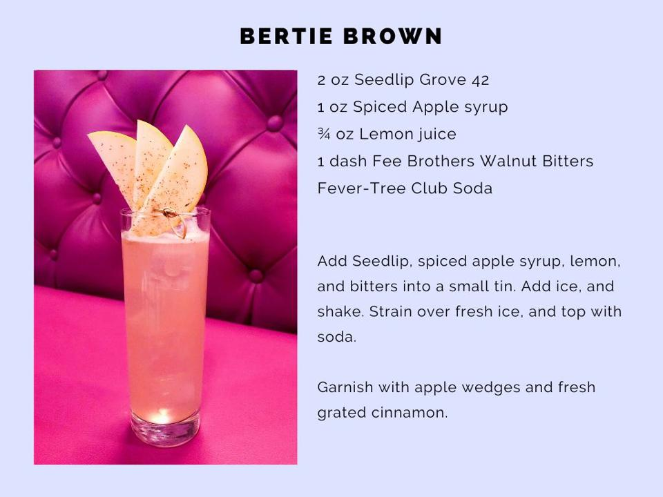 The Bertie Brown features spiced apple syrup and a dash of walnut bitters.