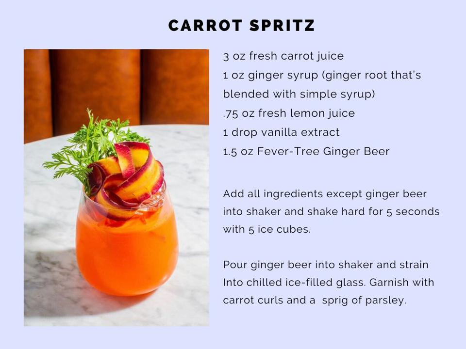 The Carrot Spritz at Fat Radish combines carrot juice and a hit of ginger.