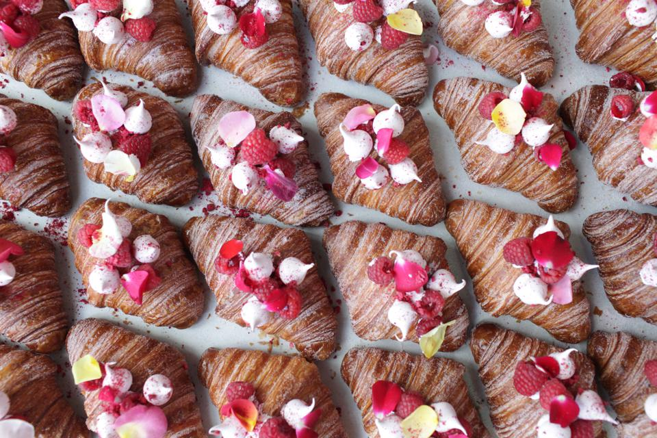 Raspberry-rose croissants from Mr. Holmes Bakehouse.